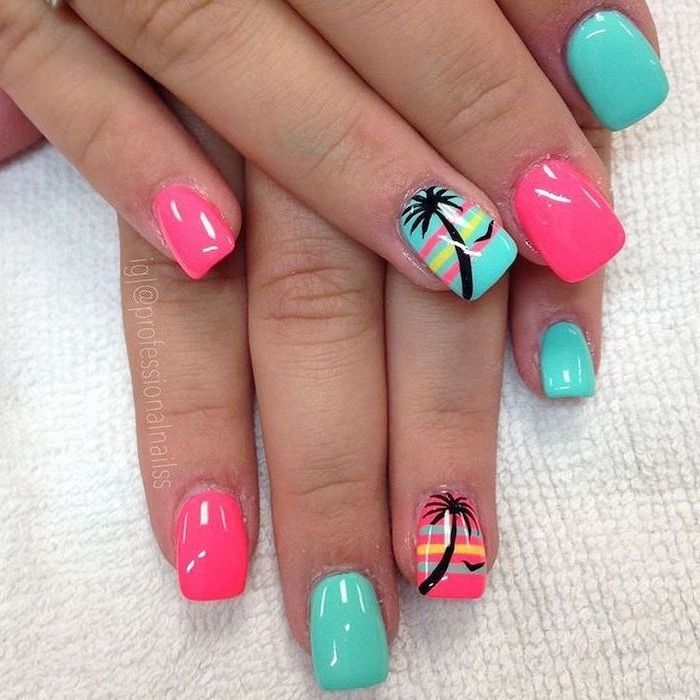 Blue Pink Palm Trees Drawings Squoval Nails Fall Nail Designs White Background In 2020 Tropical Nails Nail Designs Beach Nails