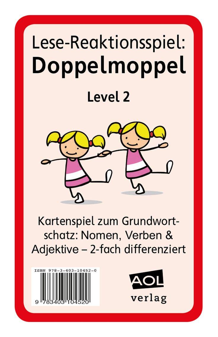 Lese-Reaktionsspiel: Doppelmoppel Level 2 - Blitzlesen: mit diesem Kartenspiel trainieren Ihre Schüler die Worterkennung von Nomen, Verben und Adjektiven. Sie trainieren, ihre Lesegeschwindigkeit zu steigern. Es eignet sich für die Leseförderung, aber auch für den DaZ-Unterricht.
