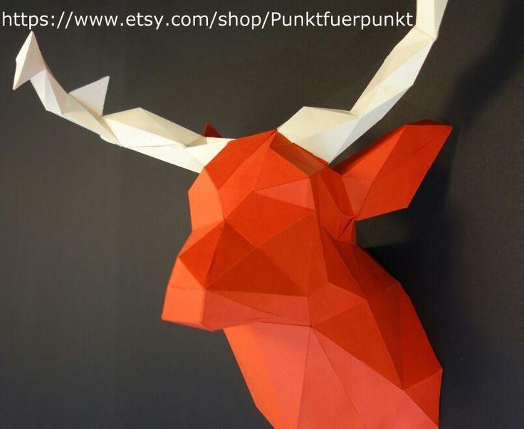 diy papercraft decor decoration origami papertrophy wallart home - Design Deko Wohnzimmer