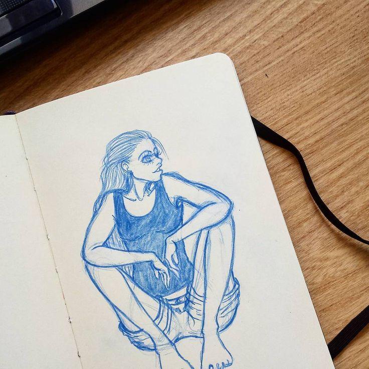 Well, hello there   Tools: Moleskine Sketchbook, Blue Prismacolor Col Erase    #blue #art #drawing #sketches #girl #sketchbook
