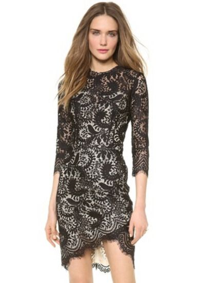 Black Round Neck Embroidered Lace Bodycon Dress pictures