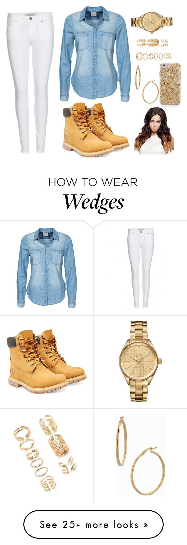 """Golden"" by blueconverse1 on Polyvore featuring Burberry, Vero Moda, Lacoste, Forever 21, Bony Levy and Timberland"