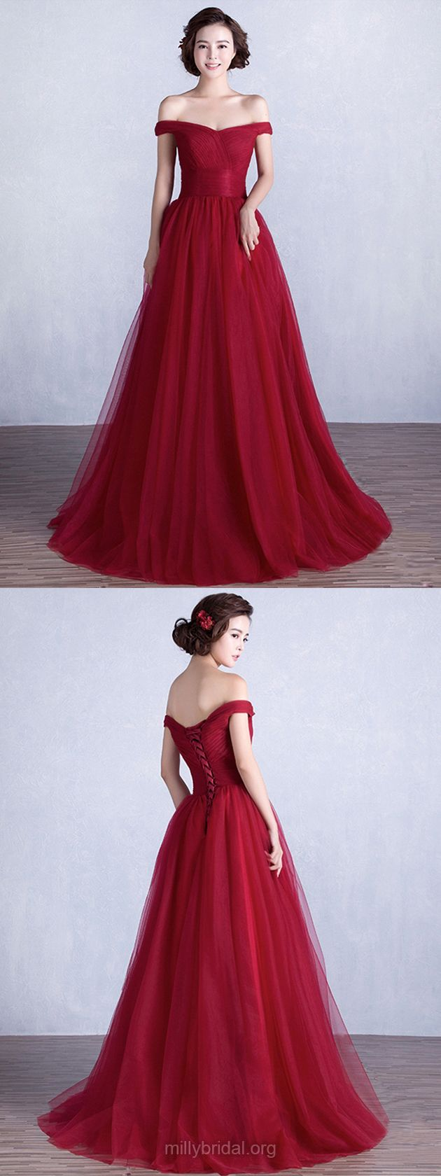 Burgundy Prom Dresses Long, 2018 Prom Dresses Princess, Off-the-shoulder Prom Dresses Tulle Ruffles Lace-up, Modest Prom Dresses Ball Gown