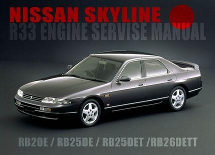 Сервисное руководство по ремонту и обслуживанию автомобиля Ниссан Скайлайн (Nissan Skyline R33), с правым рулем, оборудованный бензиновыми двигателями RB20DE, RB25DE, RB25DET, RB26DETT. Скачать 148,3 Мб