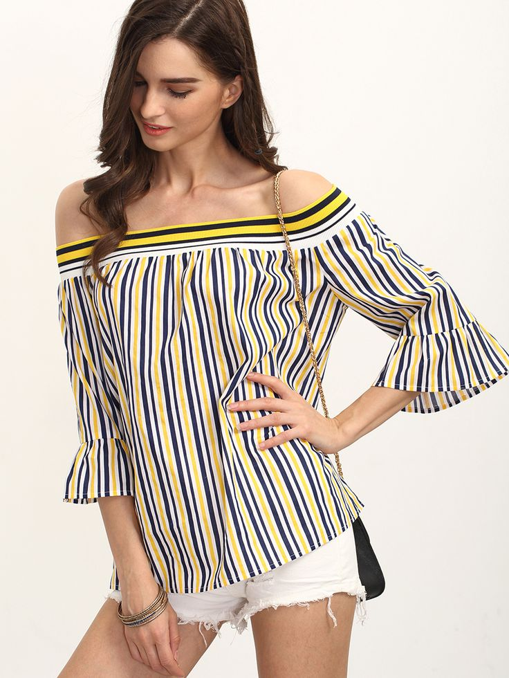 Shop Multicolor Striped Bell Sleeve Off The Shoulder Blouse online. SheIn offers Multicolor Striped Bell Sleeve Off The Shoulder Blouse &…