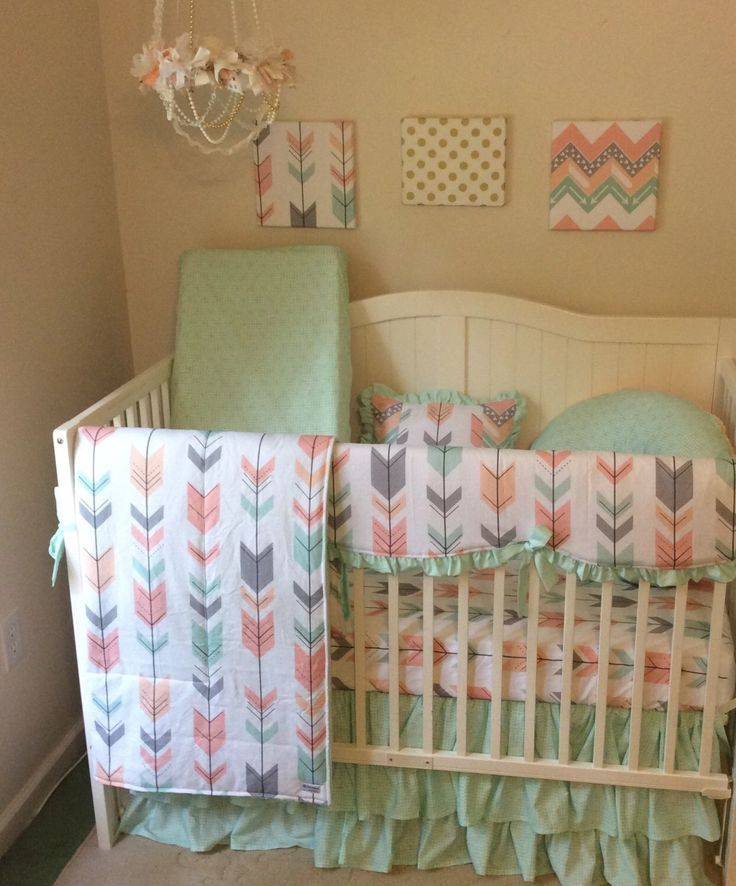 Mint gray peach coral ruffled arrow crib bedding. Complete set for a baby girl nursery  https://www.etsy.com/listing/469411762/deposit-peach-gray-and-mint-arrows