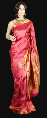 Pink and gold sari Bridal Kanjeevaram Saree from South India