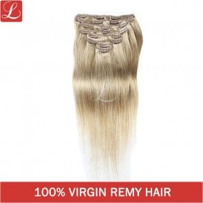 Color#18 100% Brazilian Remy Hair 20Clips 8pcs/set Clip In Hair Extensions http://www.latesthair.com/