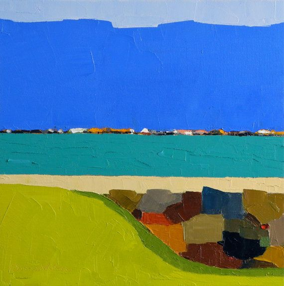 Harbor 12x12 Original Oil Painting Seascape by DonnaWalker on Etsy, $250.00
