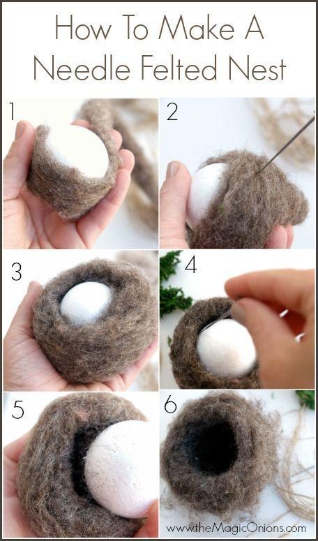 needle felted nest
