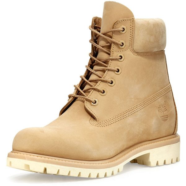 Timberland 6 Premium Waterproof Hiking Boot ($190) ❤ liked on Polyvore featuring men's fashion, men's shoes, men's boots, men's work boots, tan, mens lace up boots, mens round toe cowboy boots, mens waterproof hiking boots, mens waterproof work boots and mens water proof boots