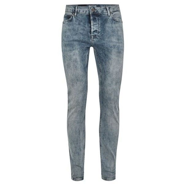 TOPMAN Grey Cloud Wash Stretch Skinny Jeans ($38) ❤ liked on Polyvore featuring men's fashion, men's clothing, men's jeans, mens grey skinny jeans, mens skinny fit jeans, mens stretch jeans, topman mens jeans and mens stretchy jeans