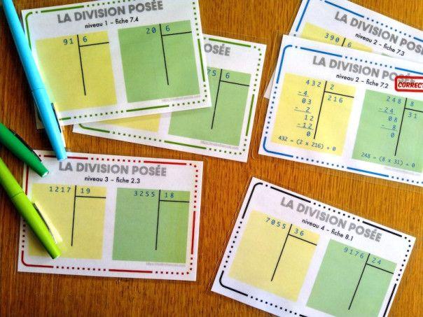 S'entraîner à la division posée avec les fiches autocorrectives | maître f…