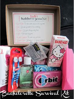 bachelorette survival kit... aww this is a cute idea!