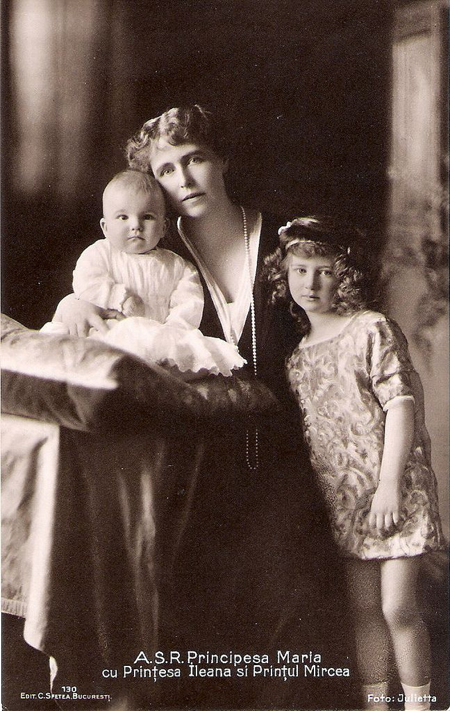 Crown Princess Marie of Romania with Prince Mircea and Princess Ileana of Romania. 1913.