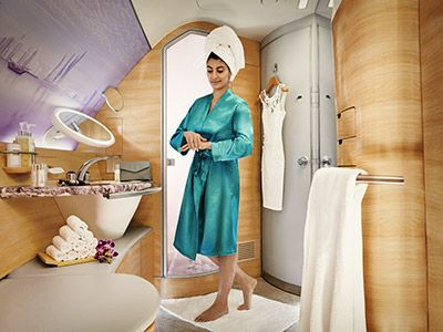 Our luxurious First Class flights feature private suites so you can relax and enjoy a world class personalised service. - Emirates