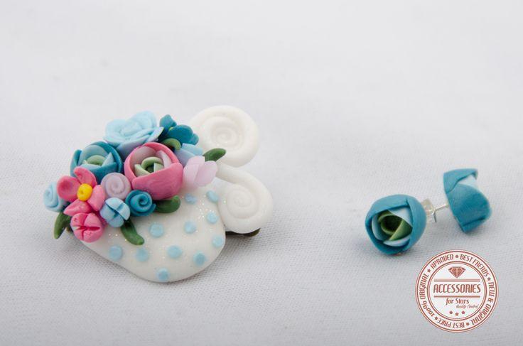 http://accessoriesforstars.blogspot.ro/2015/01/set-white-cup-of-tea.html #cupoftea #cup #tea #blue #green #flowers #ranunculus #brooches #earrings #sets #accessoriesforstars #vintage #doods #little #softblue #softpink #wwhite #powderpink #powderblue #sweet #gradient #garden