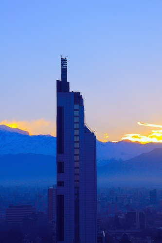 Sunrise vire from the top of the Crowne Plaza Hotel, Santiago, Chile