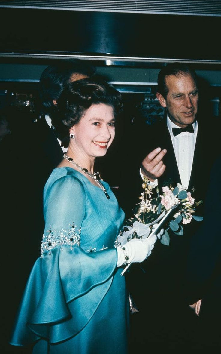 Her Majesty The Queen, and her husband, Prince Philip, Duke of Edinburgh, at the London Premiere of Agatha Christie's 'Murder on the Orient Express' in 1974.