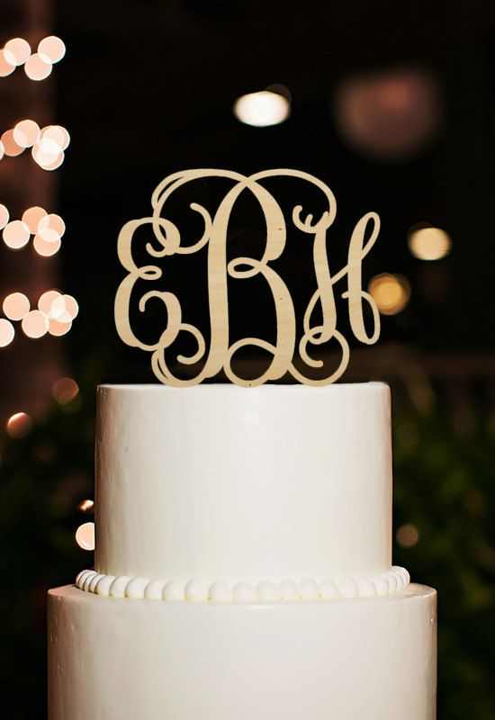 Monogram Cake Topper-Initial Cake Topper-Couple Name by DesignCMC