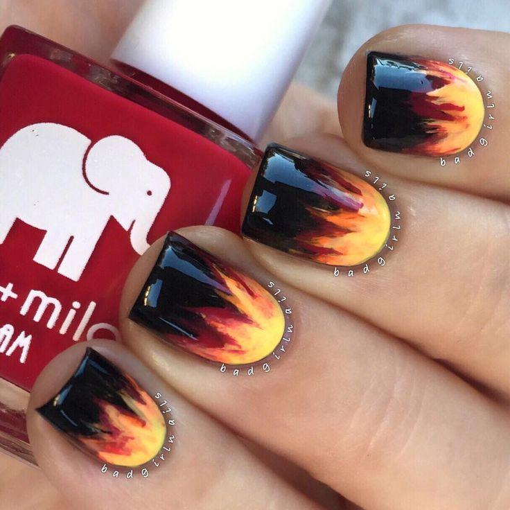 60 Best Nail Art Fire, Flames & Firemen Images On
