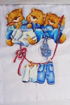 PINTURAS MEIREFriends, Pintura Tecido, Ems Tissue, Bears Painting, Clips Misc, Painting Ems, Pintura Meir, Riscos Ems, Clips Art