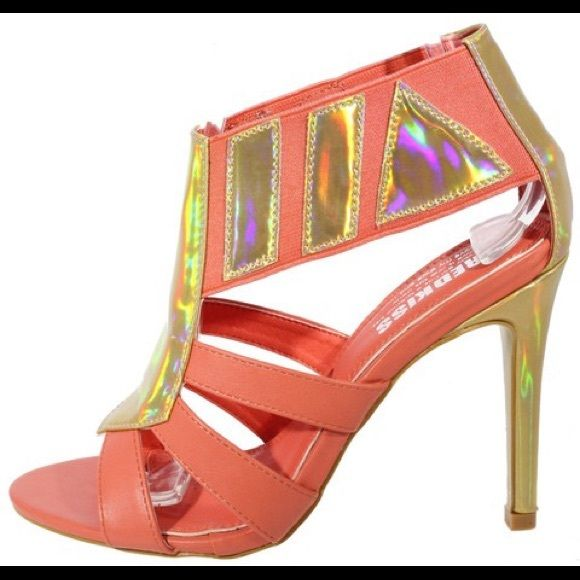 GlitzyGirl Holographic Peach Heel Glitzy peach colors holographic high heels. These are fun and just the right color for summer! Shoes Heels