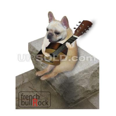 frenchbull Rock フレンチブルドッグがギターを弾いているTシャツです:フレンチブルが弾き語りをしている…そして本当にアコギを持ってジャンジカ♪弾いています:ちょっと遊びでギターとフレブルを掛け合わせてデザインした面白いデザインTシャツです:こちらもTシャツ通販ならではのオリジナルグッズで人気の商品です。