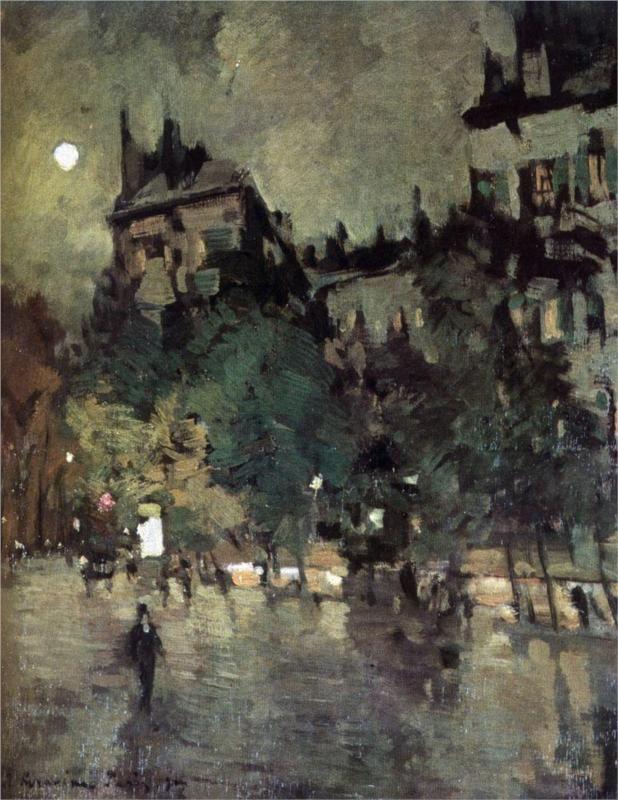 Konstantin Korovin (Russian 1861–1939) [Impressionism, Art Nouveau] Paris after Rain, 1900.