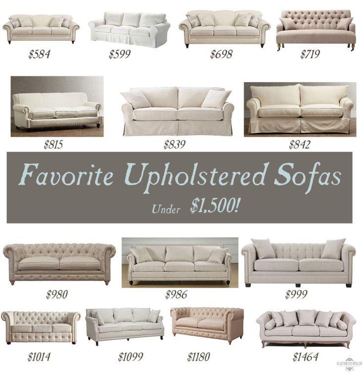 My favorites: Best upholstered sofas under $1,500 ! Great Deals on tufted sofas by Joss and Main , Pottery barn, Wayfair, Overstock, etc. http://elizabethbixler.com/favorite-upholstered-sofas/