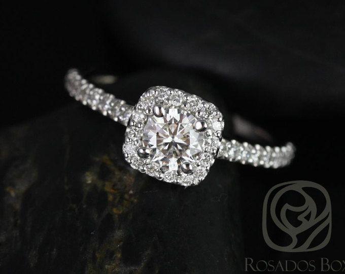 Mikena 1 / 2ct 14kt oro blanco diamante cojín Halo anillo de compromiso (otros metales y piedra opciones disponibles)