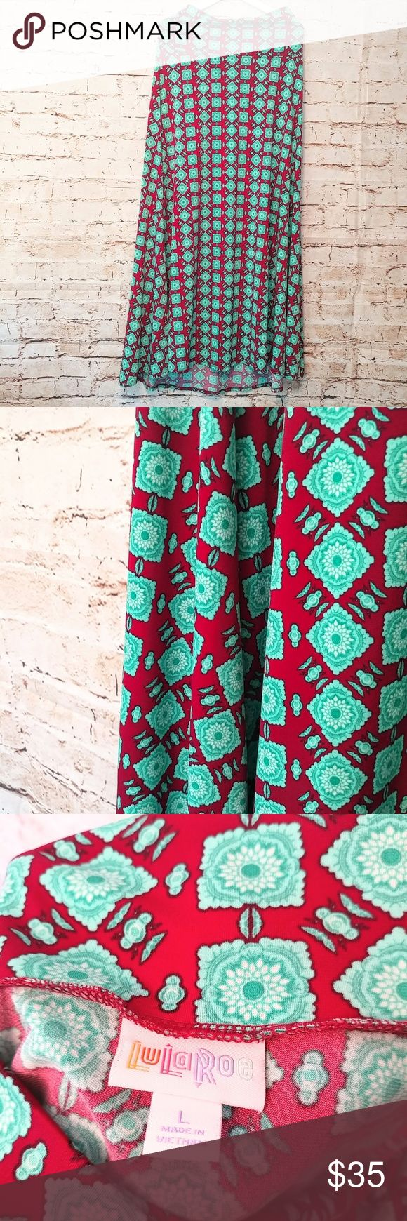 New! Lularoe Red & Turquoise Maxi Skirt Large This is beautiful! Dark Red with Turquoise Floral/ Aztec print. Lularoe Maxi made in Vietnam. 95% polyester, 5% spandex. Size Large. Stretchy material. NWOT. NEVER WORN OR WASHED! LuLaRoe Skirts Maxi