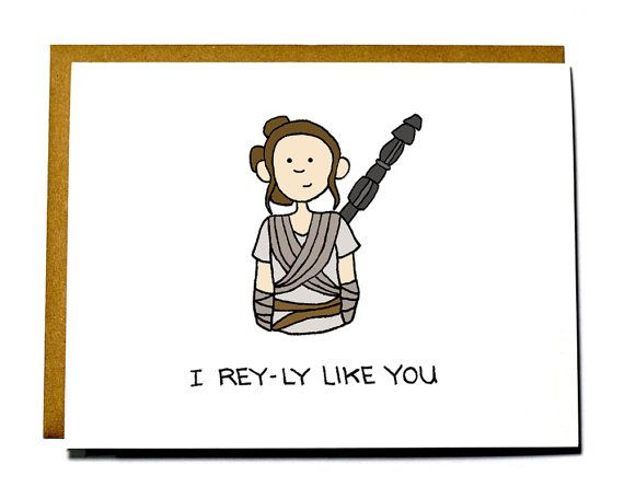 Star Wars Rey I love you card, Valentines Day card, Force Awakens