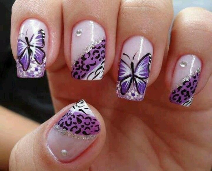 Purple Butterfly Nail Design With Leopard Prints