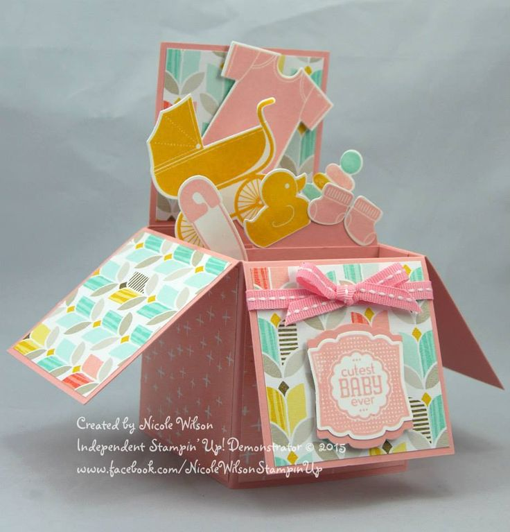 Nicole Wilson, Independent Stampin' Up! Demonstrator Baby Girl Box Card