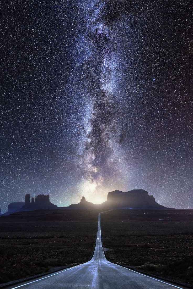 "Milky Way - Towards Monument Valley - https://youtu.be/D-pRJaFTQLo https://youtu.be/D-pRJaFTQLo ""Milky Way"". A classic shot down road 163 towards Monument Valley known from the movie ""Forrest Gump"", but with a bit more ""bling"" ;) Yup it's a composite, but not totally unrealistic since the Milky Way is in that direction - but it would be way bigger if it was shot with this focal length. I wanted to make a simple composition where the road and Milky Way leads into the picture from the bottom…"