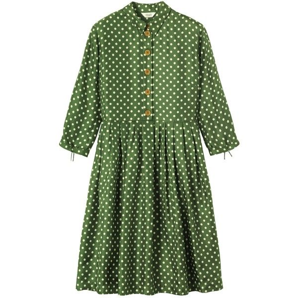 Toast Polka Dot Dress, Emerald Green (645 DKK) ❤ liked on Polyvore featuring dresses, 3/4 length sleeve dresses, shirt dress, pleated dress, half sleeve dress and green dress