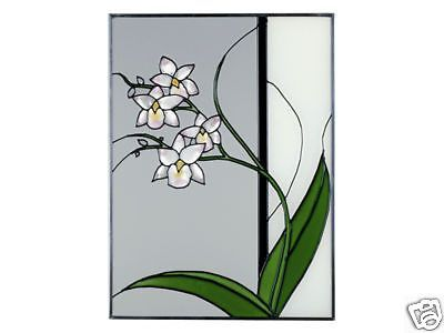 """10""""x14"""" Stained Art Glass ASIAN ORCHID Suncatcher Panel"""