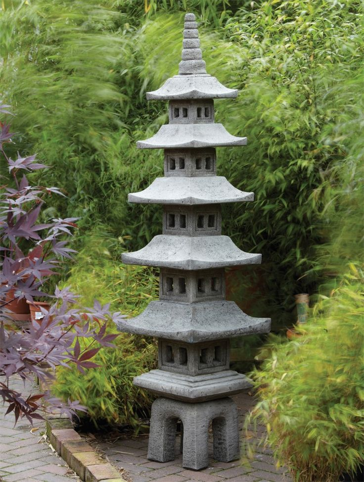 Seven Piece Japanese Pagoda Lantern Large Chinese Garden Ornament. Buy now at http://www.statuesandsculptures.co.uk/large-chinese-garden-ornaments-seven-piece-japanese-pagoda-lantern