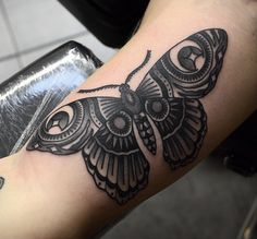 traditional black and white moth tattoo - Google Search