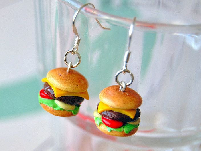 Hamburger Earrings Handmade Cheeseburger Polymer Clay Charm Earrings. $18.00, via Etsy.