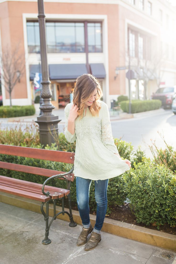 Spring Outfit Featuring The Turquoise Tulip, mint lace top, lace top, mint shirt, spring top, spring outfit, arvo watch