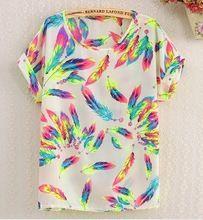 2016 nuovo stile di estate o collo uccello stampato donna top colorato manica corta donna t-shirt batwing camicia chiffona allentata feminino(China (Mainland))