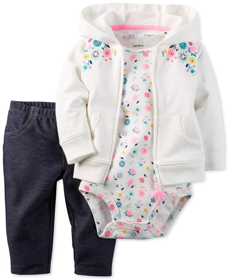 Carter's Baby Girls' 3-Pc. Floral-Print Hoodie, Bodysuit & Jeggings Set - Baby Girl (0-24 months) - Kids & Baby - Macy's