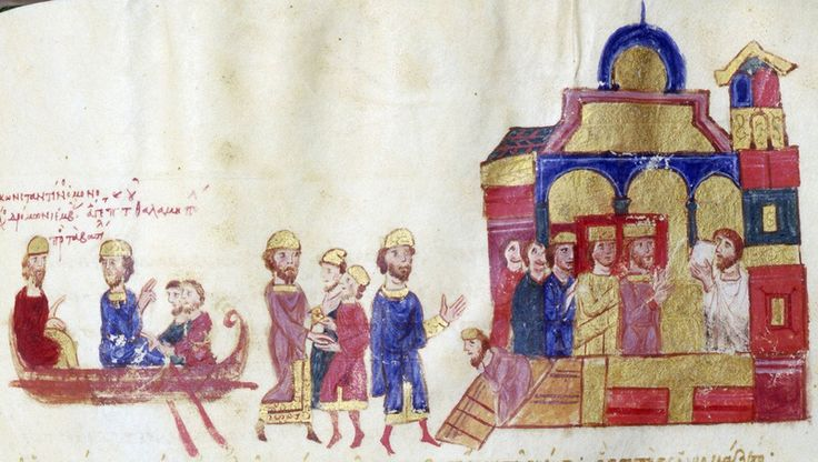 Illustration from  Skylitzes Chronicle  f222v  Zoe and Constantine cross the Bosphorous.  Top. Zoe and Constantine cross the Bosphorous in an imperial boat to be received in front of a palace by two dignitaries.     Back to the smaller picture Previous      Next