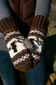 bird nest mittens brown