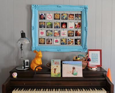 Diy dorm room crafts : DIY Paint a frame and string lines inside it to clothespin pictures on