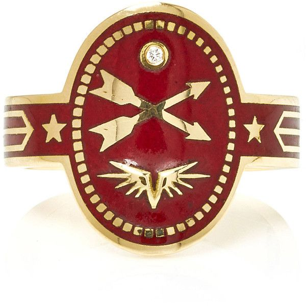 Foundrae Crossed Arrows Cigar Band in Bordeaux ($2,850) ❤ liked on Polyvore featuring jewelry, rings, red, crucifix ring, band jewelry, foundrae jewelry, crucifix jewelry and red jewelry
