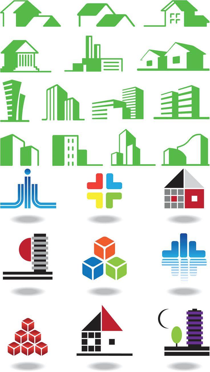 Colored building logos vector