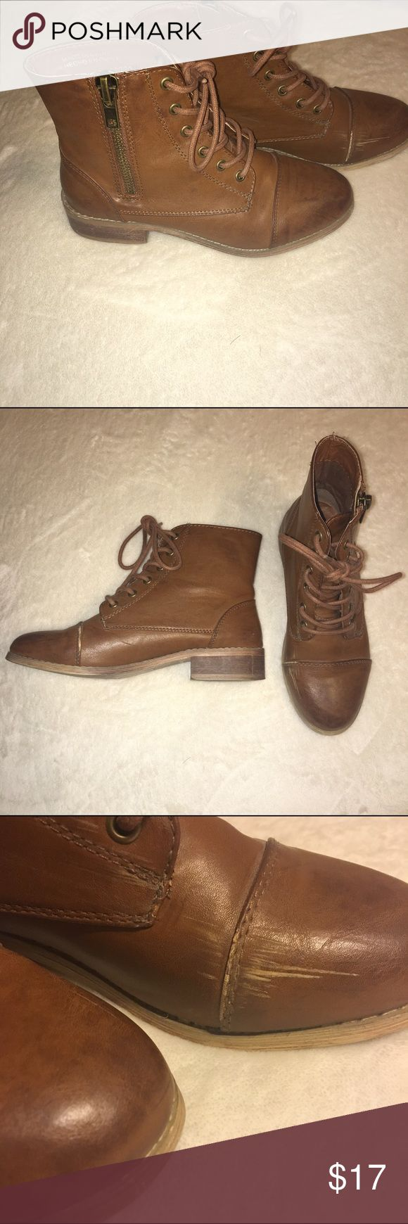 Short Brown Combat Boots Worn once, has a little scuff on the side as shown in the picture! Forever 21 Shoes Combat & Moto Boots